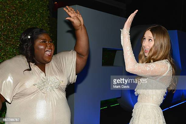 Actresses Gabourey Sidibe and Taissa Farmiga attend the Fox And FX's 2014 Golden Globe Awards Party on January 12 2014 in Beverly Hills California