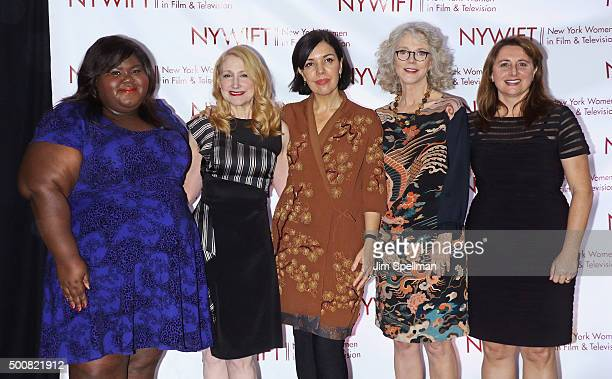 Actresses Gabourey Sidibe Patricia Clarkson Sarah Barnett actress Blythe Danner and Victoria Alonso attend the New York Women In Film And...