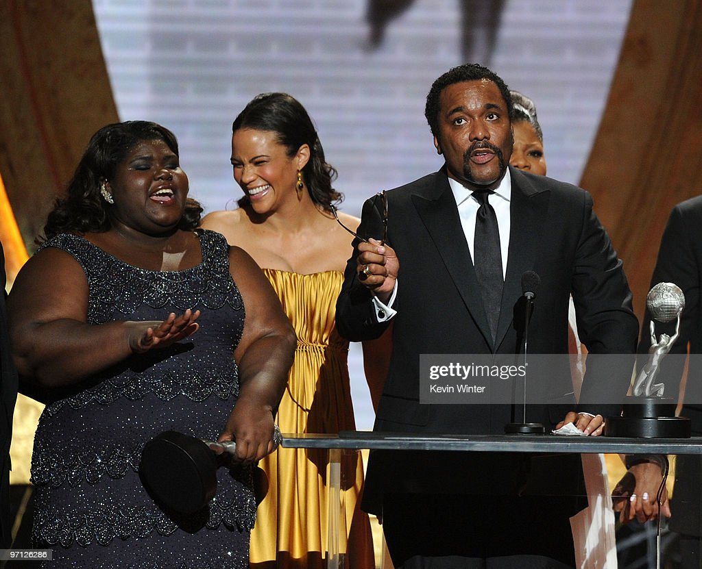 Actresses Gabourey Sidibe, Paula Patton, director Lee Daniels, and actress Mo'Nique onstage during the 41st NAACP Image awards held at The Shrine Auditorium on February 26, 2010 in Los Angeles, California.