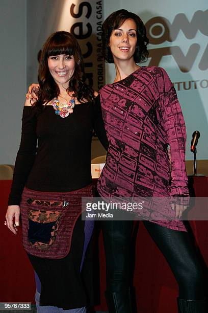 Actresses Gabriela de la Garza and Fabiana Perzabal during the press conference of the new Tv series named 'Bienes Raices' presentation at IPN...