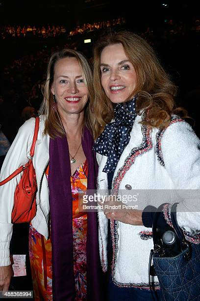 Actresses Gabrielle Lazure and Cyrielle Clair attend the Concert of singer Charles Aznavour at Palais des Sports on September 15 2015 in Paris France