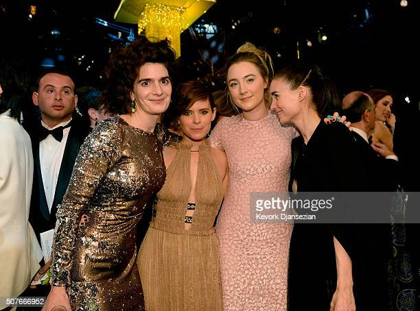 Actresses Gaby Hoffmann Kate Mara Saoirse Ronan and Rooney Mara pose during the 22nd Annual Screen Actors Guild Awards at The Shrine Auditorium on...