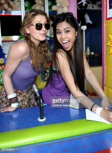 Actresses Gage Golightly and Ashley Argota attend the MakeAWish Foundation's Day of Fun hosted by Kevin Steffiana James held at Santa Monica Pier on...