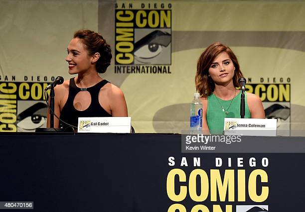 Actresses Gal Gadot and Jenna Coleman attend the Entertainment Weekly Women Who Kick Ass panel during ComicCon International 2015 at the San Diego...