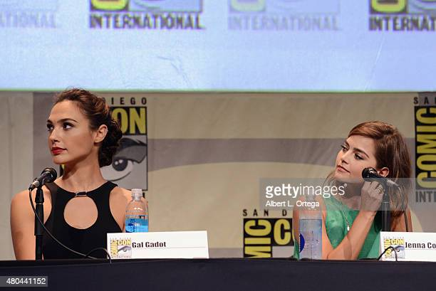 Actresses Gal Gadot and Jenna Coleman speak onstage at the Entertainment Weekly Women Who Kick Ass panel during ComicCon International 2015 at the...