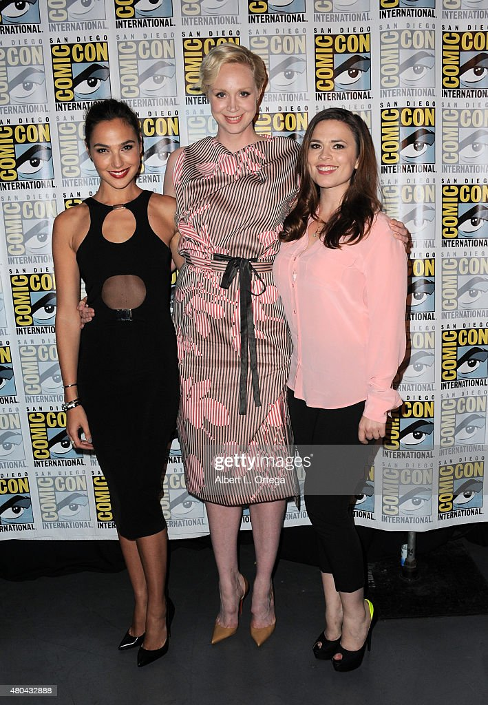 Actresses Gal Gadot, Gwendoline Christie and Jenna Coleman attend the Entertainment Weekly: Women Who Kick Ass panel during Comic-Con International 2015 at the San Diego Convention Center on July 11, 2015 in San Diego, California.