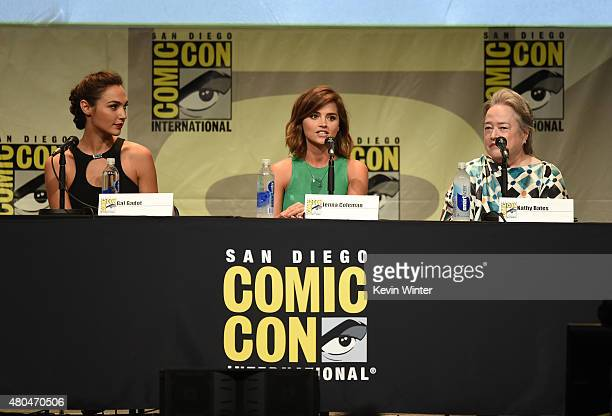 Actresses Gal Gadot Jenna Coleman and Kathy Bates attend the Entertainment Weekly Women Who Kick Ass panel during ComicCon International 2015 at the...