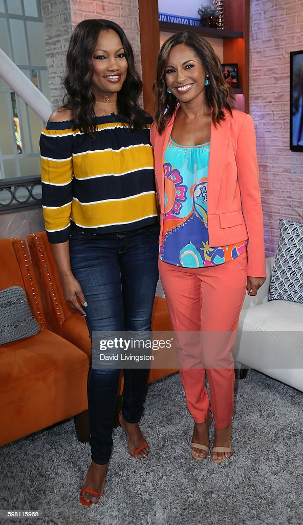 Actresses Garcelle Beauvais (L) and Salli Richardson-Whitfield pose at Hollywood Today Live at W Hollywood on August 31, 2016 in Hollywood, California.