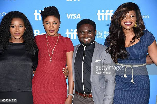 Actresses Genevieve Nnaji Omoni Oboli producer/director UduakObong Patrick and director Kemi Adetiba pose backstage at the 'City to City' press...