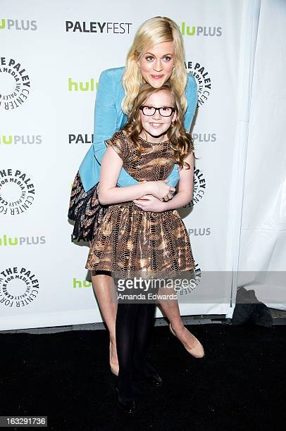 Actresses Georgia King and Bebe Wood arrive at the 30th Annual PaleyFest The William S Paley Television Festival featuring The New Normal at the...