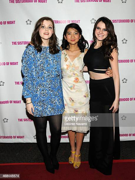 Actresses Georgie Henley Willa CuthrellTuttleman and Kara Hayward attend 'The Sisterhood Of Night' New York Premiere at SVA Theater on April 2 2015...