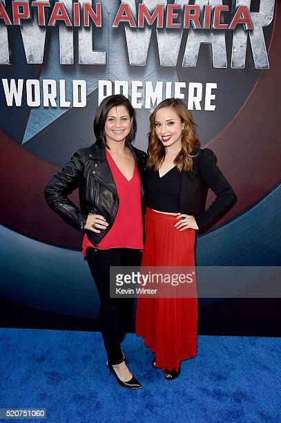 Actresses Georgie Kidder and Natalie Lander attend the premiere of Marvel's Captain America Civil War at Dolby Theatre on April 12 2016 in Los...