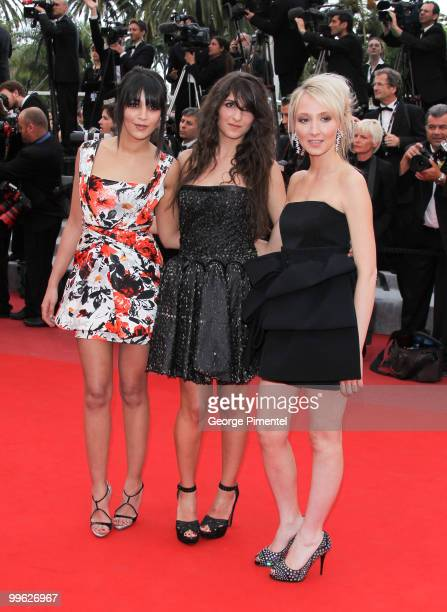 Actresses Geraldine Nakache Audrey Lamy and Leila Bekhti attend the 'The Princess of Montpensier' Premiere held at the Palais des Festivals during...