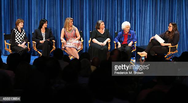 Actresses Geri Jewell Nancy McKeon Lisa Whelchel Mindy Cohn and Charlotte Rae and moderator Danielle Nussbaum speak during The Paley Center for...