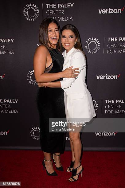 Actresses Gina Rodriguez and Eva Longoria arrive at The Paley Center for Media's Hollywood Tribute to Hispanic Achievements in Television event at...