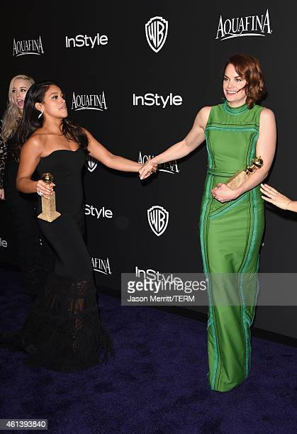 Actresses Gina Rodriguez and Ruth Wilson attend the 2015 InStyle And Warner Bros 72nd Annual Golden Globe Awards PostParty at The Beverly Hilton...