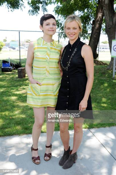 Actresses Ginnifer Goodwin and Amy Smart attend The Environmental Media Association's 3rd Annual Garden Luncheon at Carson Senior High School on June...
