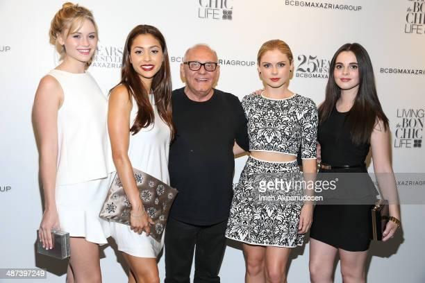 Actresses Ginny Gardner Lindsey Morgan fashion designer Max Azria actresses Rose McIver and Vanessa Marano attend the BCBGMAXAZRIA 'Living the Bon...