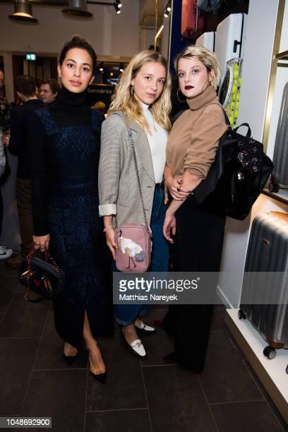 Actresses Gizem Emre Anna Lena Klenke and Jella Haase attend the 'Samsonite designed by Kilian Kerner' store event on October 9 2018 in Berlin Germany