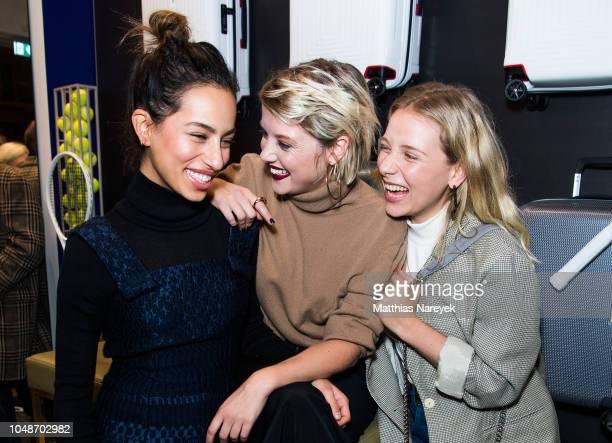 Actresses Gizem Emre Jella Haase and Anna Lena Klenke attend the 'Samsonite designed by Kilian Kerner' store event on October 9 2018 in Berlin Germany