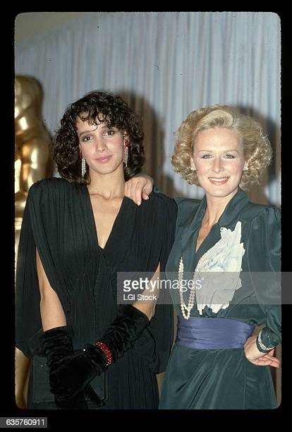Actresses Glenn Close and Jennifer Beals pose together at the Academy Awards
