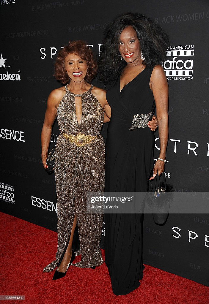 Actresses Gloria Hendry and Trina Parks attend 'Spectre' - The Black Women of Bond Tribute at California African American Museum on November 3, 2015 in Los Angeles, California.