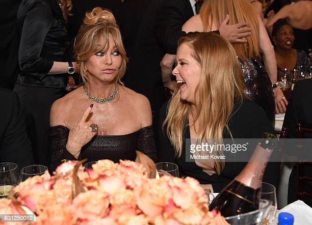 Actresses Goldie Hawn and Amy Schumer attend the 74th Annual Golden Globe Awards at The Beverly Hilton Hotel on January 8 2017 in Beverly Hills...