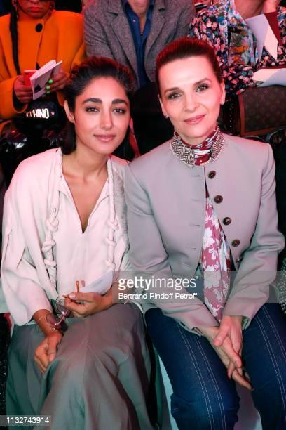 Actresses Golshifteh Farahani and Juliette Binoche attend the Chloe show as part of the Paris Fashion Week Womenswear Fall/Winter 2019/2020 on...