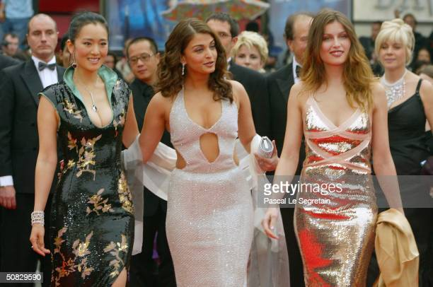 Actresses Gong Li Aishwarya Rai and Laetitia Casta attend the 57th Cannes Film Festival Opening Ceremony and screening of opening film 'La Mala...