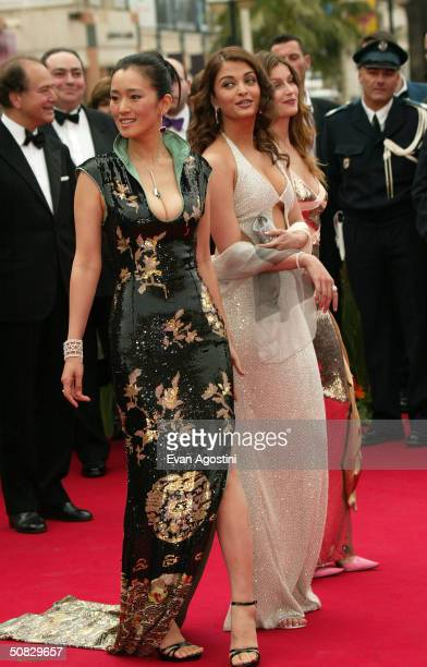 Actresses Gong Li and Aishwarya Rai arrive at the 57th International Cannes Film Festival Opening Ceremony and screening of the film 'La Mala...