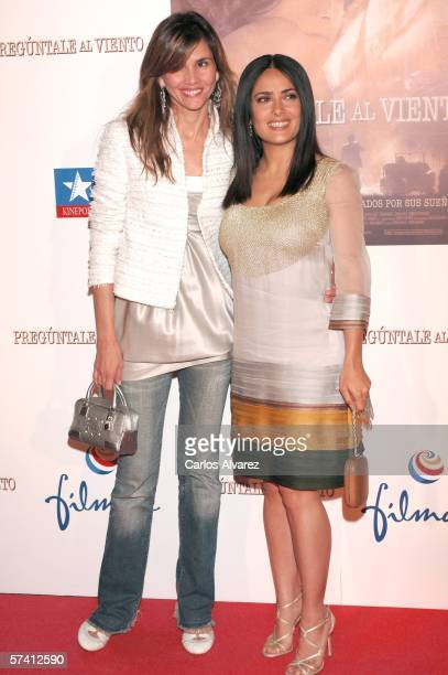 Actresses Goya Toledo and Salma Hayek arrive at the premiere of the new movie 'Ask the Dust' at Kinepolis Cinema in Madrid