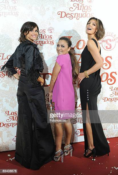 Actresses Goya Toledo Candela Pea and Mar Flores attend the 'Los Aos Desnudos' premiere at the Capitol Cinema on October 23 2008 in Madrid Spain