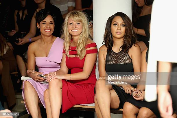 Actresses Grace Gealey, Kaitlin Doubleday and La La Anthony attend the Cushnie Et Ochs fashion show during Spring 2016 MADE Fashion Week at Milk...