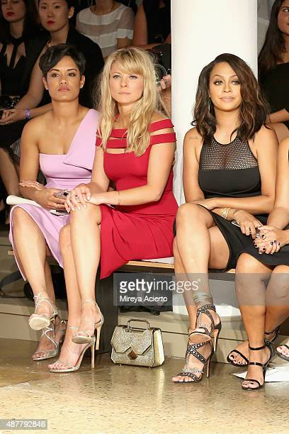 Actresses Grace Gealey Kaitlin Doubleday and La La Anthony attend the Cushnie Et Ochs fashion show during Spring 2016 MADE Fashion Week at Milk...