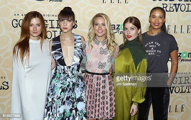 Actresses Grace Gummer Erin Darke Anna Camp Genevieve Angelson and Joy Bryant attend the Good Girls Revolt New York screening at the Joseph Urban...