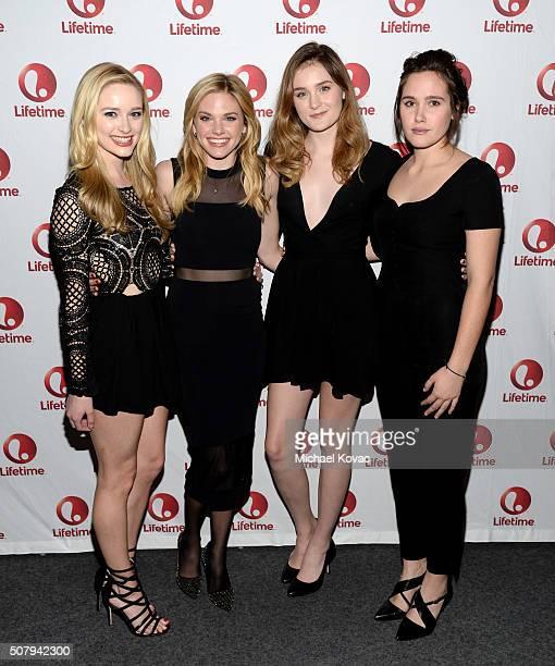 Actresses Greer Grammer Mackenzie Mauzy Grace Victoria Cox and Eden Brolin attend 'Manson's Lost Girls' Lifetime's Broad Focus Screening at Landmark...