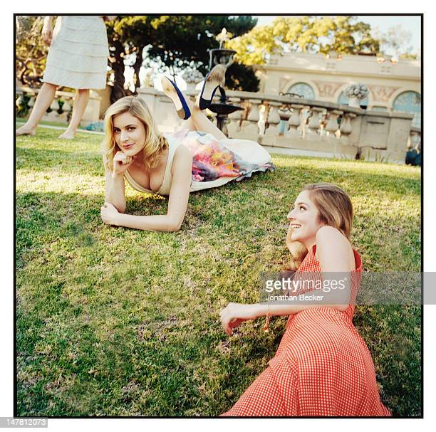 Actresses Greta Gerwig and Caitlin Fitzgerald pose for Town Country Magazine on January 4 2011 at The Virginia Robinson Gardens in Beverly Hills...