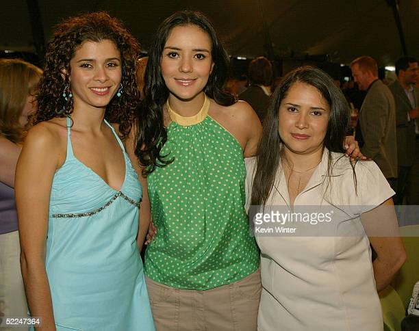 Actresses Guilied Lopez Catalina Sandino Moreno and Yenny Paola Vega in the audience at the 20th IFP Independent Spirit Awards in a tent on the beach...