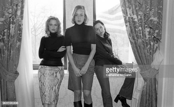 Actresses Guinevere Turner Samantha Mathis and Chloe Sevigny pose for a portrait to promote film American Psycho on April 11 2000 in New York City...