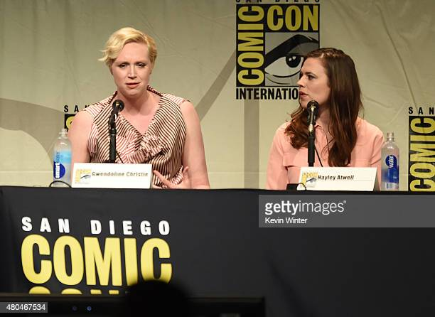 Actresses Gwendoline Christie and Hayley Atwell attend the Entertainment Weekly Women Who Kick Ass panel during ComicCon International 2015 at the...