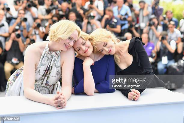 Actresses Gwendoline Christie Elisabeth Moss and Nicole Kidman attend the 'Top Of The Lake China Girl' photocall during the 70th annual Cannes Film...