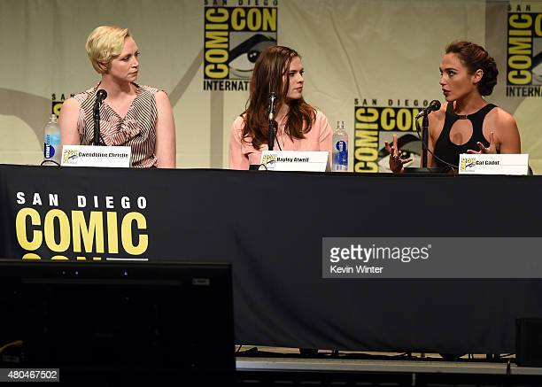 Actresses Gwendoline Christie Hayley Atwell and Gal Gadot attend the Entertainment Weekly Women Who Kick Ass panel during ComicCon International 2015...