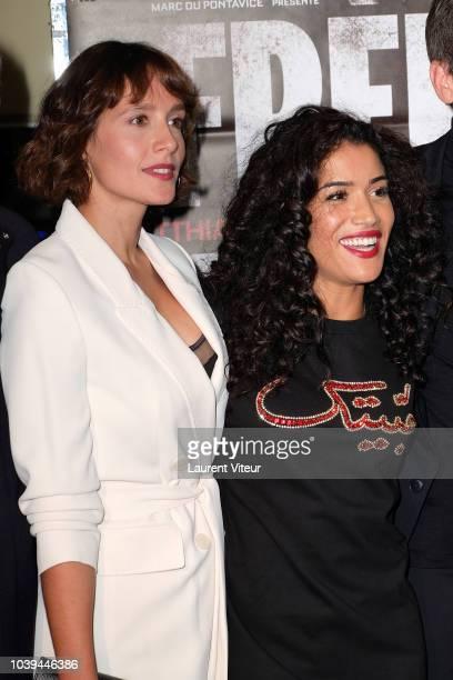 "Actresses Gwendolyn Gourvenec and Sabrina Ouazani attend ""Freres Ennemis"" Paris Premiere at UGC Les Halles on September 24, 2018 in Paris, France."
