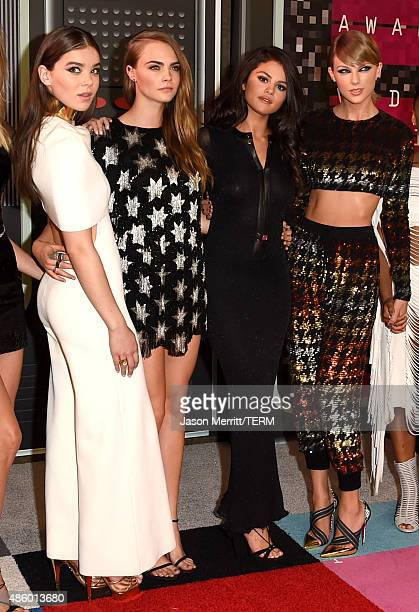 Actresses Hailee Steinfeld Cara Delevingne actress/singer Selena Gomez and recording artist Taylor Swift attend the 2015 MTV Video Music Awards at...