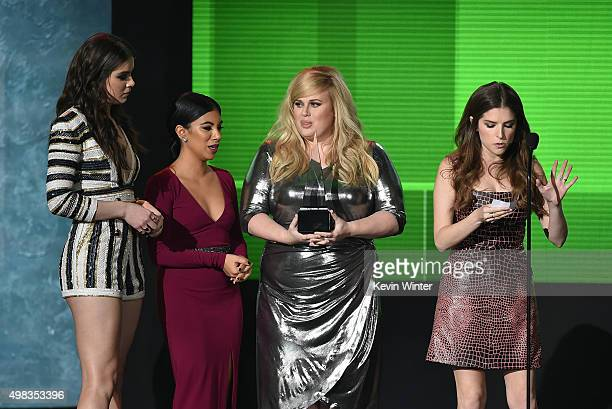 Actresses Hailee Steinfeld Chrissie Fit Rebel Wilson and Anna Kendrick accept Top Soundtrack award for 'Pitch Perfect 2' onstage during the 2015...