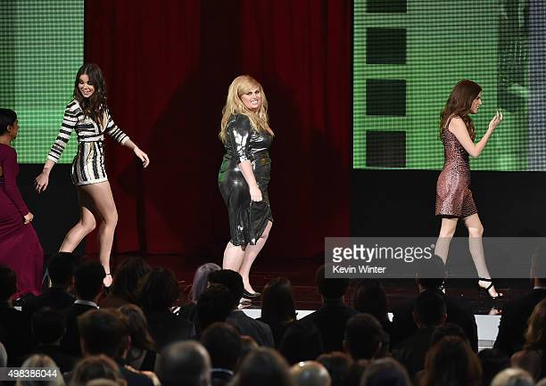 Actresses Hailee Steinfeld Rebel Wilson and Anna Kendrick walk onstage during the 2015 American Music Awards at Microsoft Theater on November 22 2015...