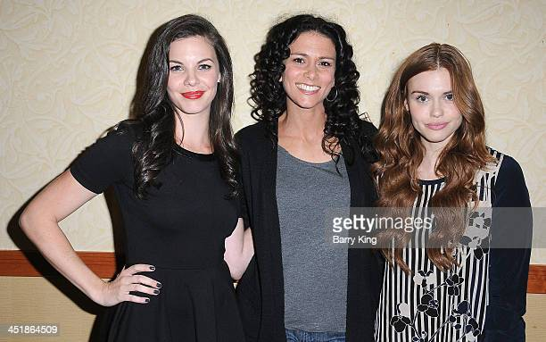 Actresses Haley Webb Melissa Ponzio and Holland Roden attend the 20th Century Fox Home Entertainment and MTV Network Teen Wolf fan appreciation event...
