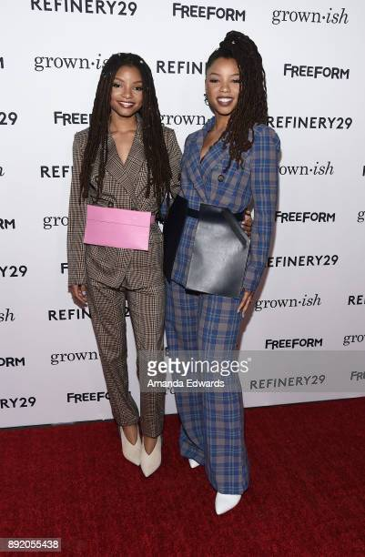 Actresses Halle Bailey and Chloe Bailey arrive at the premiere of ABC's 'Grownish' on December 13 2017 in Hollywood California