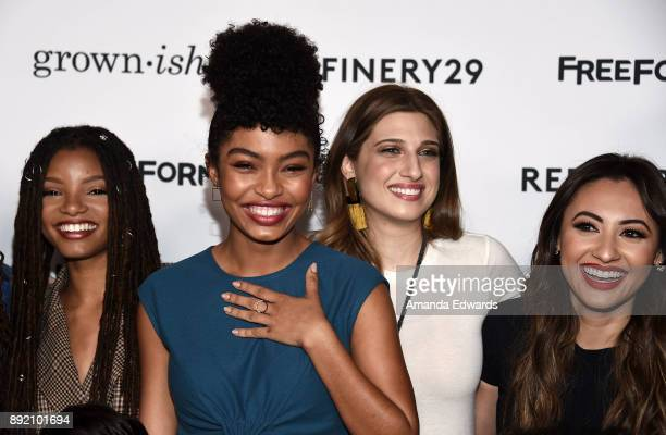 Actresses Halle Bailey Yara Shahidi Emily Arlook and Francia Raisa arrive at the premiere of ABC's Grownish on December 13 2017 in Hollywood...