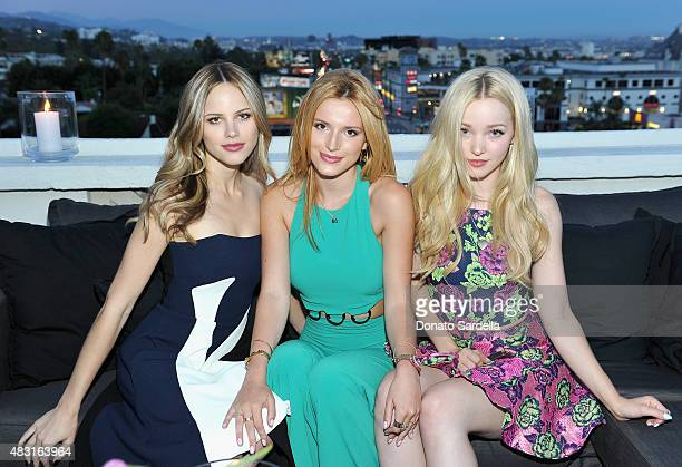 Actresses Halston Sage Bella Thorne and Dove Cameron attend Teen Vogue x Simon BTSS Kickoff Dinner on August 5 2015 in Los Angeles California